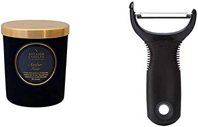 Shearer Candles Amber Noir Scented Jar Candle with Gold Lid, Black