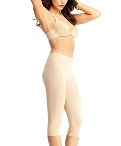 Double Agent High Waist Shaping Capris - SlimMe by MeMoi - Versatile Leggings ,Nude,X-Large