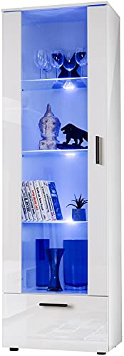 ExtremeFurniture T40 Tall Display Cabinet, Carcass in White Matt/Front in White High Gloss + Multicolour LEDs with Remote