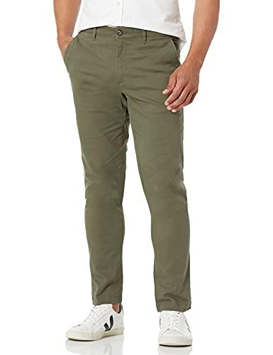 Amazon Essentials - Pantalones ajustados, elastizados e informales de color caqui para hombre, Verde oliva, 36W x 33L
