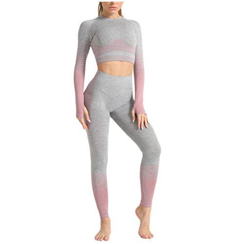 Sllowwa Damen Top & High-Waist Leggings Fitness Set Yoga Hose Trainingshose Allmähliche Veränderung Hohe Taille Yoga Anzug S-L
