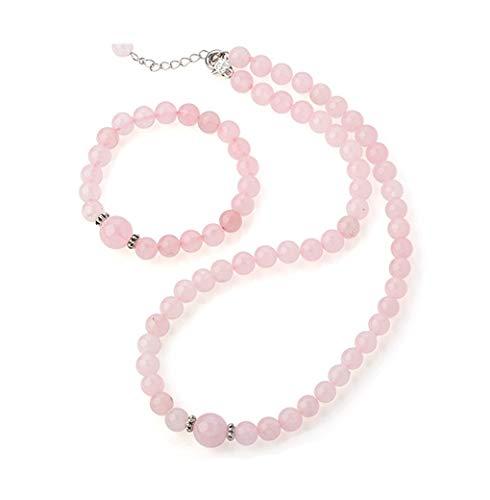TreasureBay Schmuck-Set mit Halskette und Armband Rosenquarz Rosa kugelförmige Perlen (inklusive Geschenkschatulle)