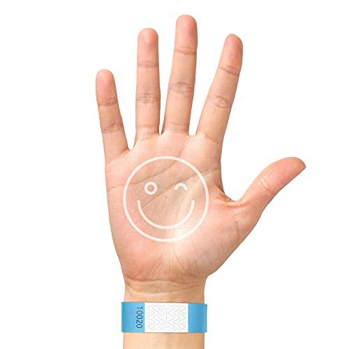 BKSAI 200 Eintrittsbänder aus Tyvek® Einlassbänder Kontrollband im DIN A4 Bedruckbar Druckvorlage Verfügbar Beschriften- Party Events zum selbst gestalten und bedrucken (Neonblau)
