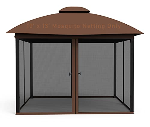 COZYVIDA Gazebo 10' x 13' Mosquito Netting Screen 4-Panels Universal Replacement for Patio, Outdoor Canopy, Garden and Backyard (Only Netting Sidewalls) (Black)