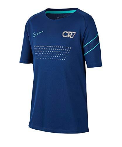 Nike Dri-Fit Cr7 T-Shirt, Kinder XS Blauer Hohlraum/Hyperjade/Metallic Silber