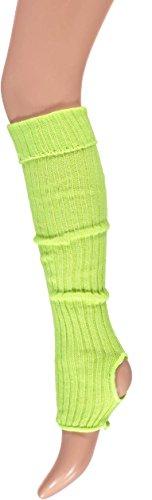 krautwear® Damen Mädchen Ballettstulpen mit Fersenloch Beinwärmer Ballett Stulpen Legwarmer Armstulpen ca. 55 cm 80er Jahre 1980er Jahre schwarz weiss Neon Pink Grün Gelb Orange (Gelb)
