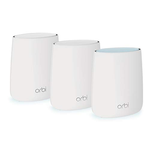 NETGEAR Orbi Whole Home Mesh Wifi System (Router + 2 Satellite Extenders), Eliminate Deadzones with 4500 sq ft Coverage, Fast Speeds, AC2200 (RBK23)