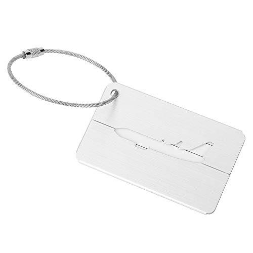 OKBY Equipaje Tag-5Pcs Aleación de Aluminio Equipaje de Viaje Equipaje Maleta Etiqueta de identificación Etiqueta de Tarjeta(Plata)