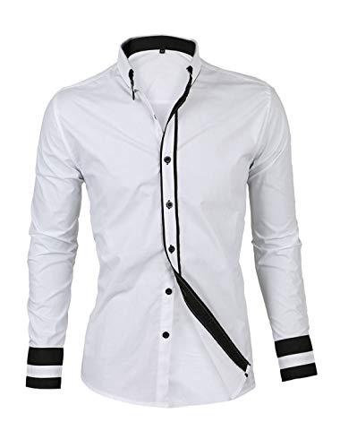 Sourcingmap Chemise habillée à Manches Longues avec Bordure Contrastante Blanc 36