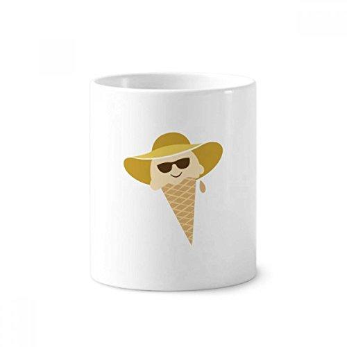 DIYthinker Hoed Glazen Hoofd Sweet Ice Cream Keramische Tandenborstel Pen Houder Mok Wit Cup 350ml Gift 9,6 cm hoog x 8,2 cm diameter