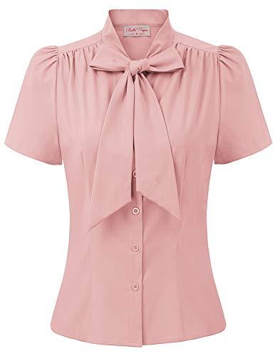 Belle Poque Camicia Elegante a Manica Corta con Fiocco Tinta Unita Stile Vintage Donna Bp0819-5 S