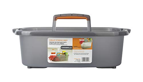 Casabella Cleaning Storage Caddy with Handle for 4-Gallon Rectangular Bucket, Graphite/Orange