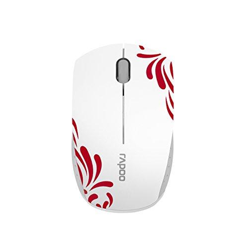 Rapoo 3300P+ kabellose Mini Maus, 2.4 GHz Wireless via Nano USB-Empfänger, 1000 DPI optischer Sensor, kompaktes Design, weiß/rot