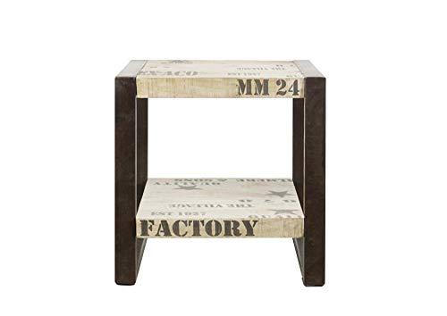 Table d'appoint industrielle - Bois massif de manguier brut - Fer et bois imprimé - FACTORY #101