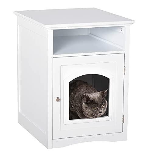Pawhut Katzenschrank Katzenhaus Katzentoilette Holz Katzenklo Katzenbett mit magnetischer Tür MDF Weiß 54 x 48 x 64 cm