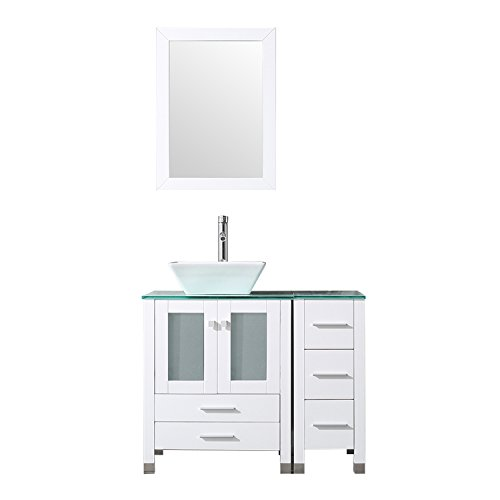 "BATHJOY 36"" White Bathroom Wood Vanity Cabinet Single Square Ceramic Vessel Sink Top Faucet Drain with Mirror"