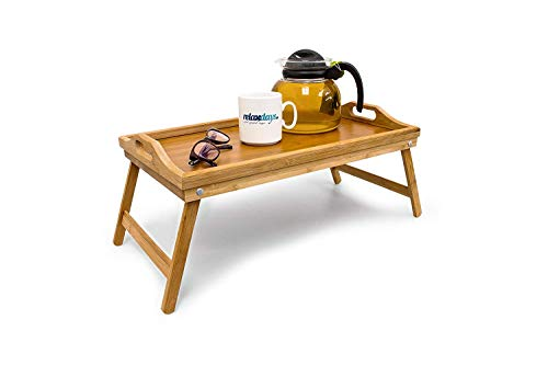 Relaxdays Bamboo Wooden Breakfast in Bed Tray, 50 x 30 x 23 cm Serving Tray With Folding Legs And Handles, Natural Brown