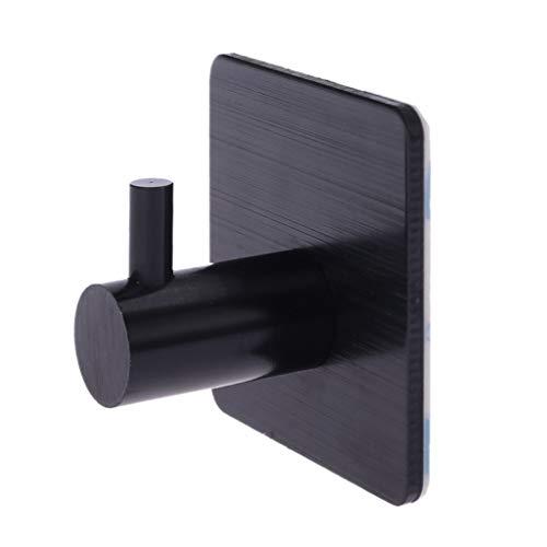 Guoyy Aluminium auto-adhésif de support de serviette de cuisine de support de crochet de porte de mur de cuisine de maison (noir)