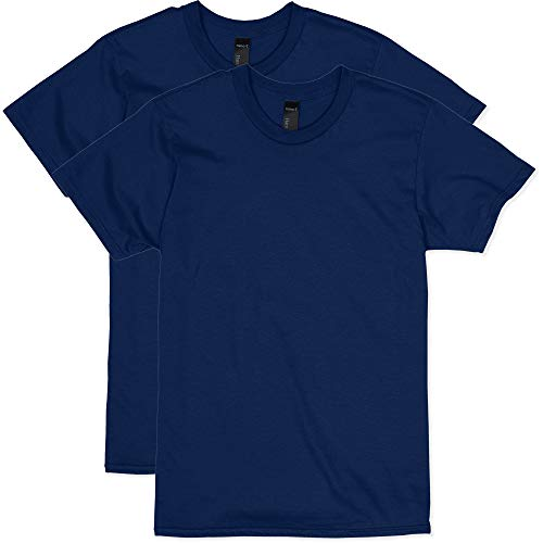 Hanes Men's Nano Premium Cotton T-Shirt (Pack of 2), Navy, Large