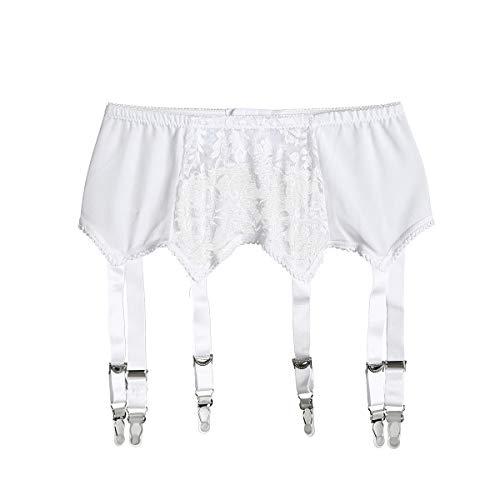 Verstellbarer Strumpfhalter Sexy Strumpfband für selbsthaftende Strümpfe 6 elastische Riemen, Weiß L