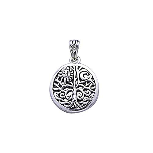 Celtic Tree of Life Art Symbol with Sun and Moon Sterling Silver Pendant with 18' Necklace