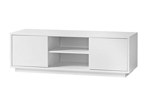 K-Möbel TV Schrank Weiß Dekor Lowboard Fernsehschrank 2 Fächer 2 Türen