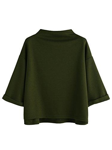 SweatyRocks Women's 3/4 Sleeve Mock Neck Basic Loose T-Shirt Elegant Top Army Green Small