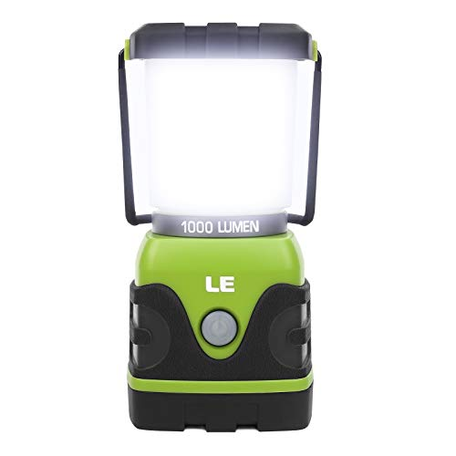 LE LED Camping Lantern, Battery Powered LED with 1000LM, 4 Light Modes, Waterproof Tent Light, Perfect Lantern Flashlight for Hurricane, Emergency, Survival Kits, Hiking, Fishing, Home and More