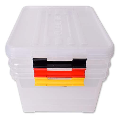 teprovo Allibert 3 Stück Design Boxen Aufbewahrung Aufbewahrungsbox Box Deckel Lagerboxen Kunststoff 35 L Transparent