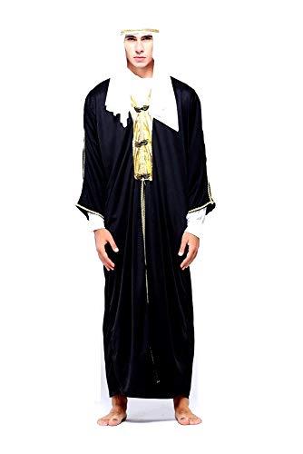 KIRALOVE Disfraz de jeque árabe musulmán para Hombre Adulto niño - Disfraces - Halloween - Carnaval - Cosplay - Color Negro - Talla única - Idea de Regalo Original Cosplay