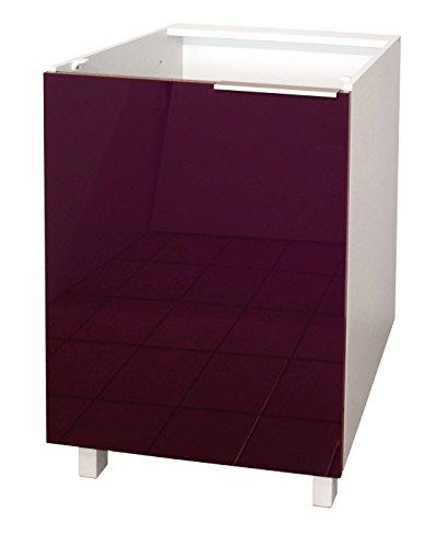 Berlenus CP6BA Tür für Küchenschrank, 60cm, hochglanzpoliert, Aubergine