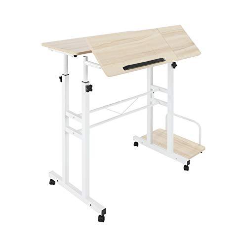 Queiting Höhenverstellbarer Computertisch mit Rollen Laptop Schreibtisch mit Rollen Höhenverstellbarer Mobiler Computertisch Kippbarer Laptop Schreibtisch