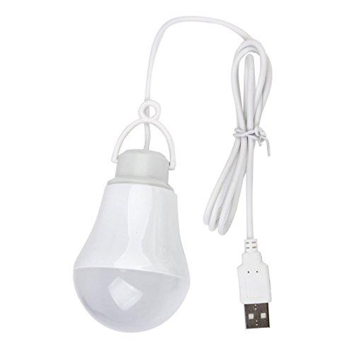 TOOGOO DC5V 5W LED Bombilla USB Lampara Luz Blanca portatil para Ordenador portatil al Aire Libre (Blanco)