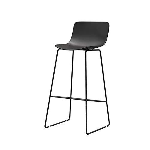 Kruk MEIDUO eenvoudige creatieve bar stoel, ijzer frame en gebogen harde plastic stoel, stijlvolle receptie hoge keuken eetstoel met lage rugleuning, 65/70/75 CM
