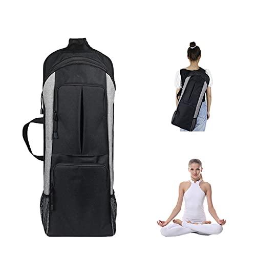PCAFRS Yoga Mat Bag, Yoga Mat Holder Carrier, Yoga Backpack, Yoga Carrier Backpack with Large Pockets & Water Bottle Holders, Full-Zip Exercise Yoga Mat Carry Bag for Women Men (Grey)