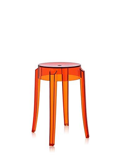 Kartell 4897 / E3 Charles Ghost Kruk, hoogte 46 cm, oranje, 2 stuks