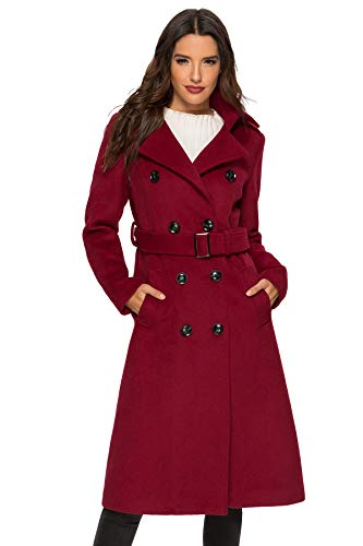 Escalier Womens Wool Coat Double Breasted Winter Long Trench Coat with Belt Wine Large