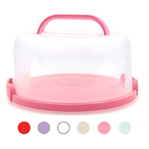 Top Shelf Elements Cake Carrier for Up to 10 inch x 4 1/2 inch Cake. Two Sided Fashionable Coral Pink Base Doubles as Five Section Serving Tray