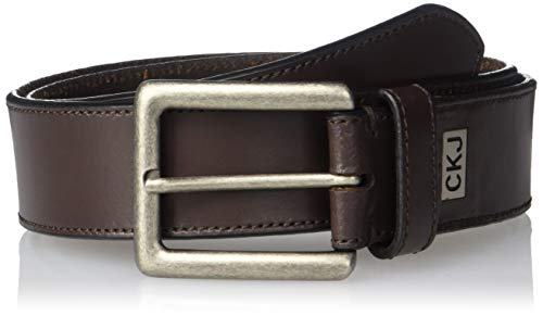 Calvin Klein Men's Jeans Leather Belt, Bitter Brown, 36
