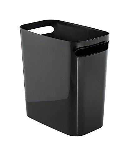 iDesign Mülleimer mit Griffen, kleiner 9,5 l Papierkorb aus Kunststoff, moderner Abfalleimer für Büro, Küche oder Badezimmer, schwarz