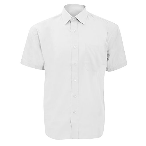 Chemise à Manches Courtes en Popeline Russell Collection pour Homme (S) (Blanc)