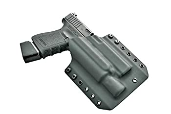 LIGHTBEARING OWB Holster for Glock 17 with SUREFIRE X300 Ultra   Outside The Waistband Holster for Glock 17 / 19 / 19X / 22 / 23 / 32 / 45 with SUREFIRE X300U A OR B Model Attached