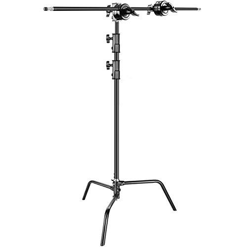 Neewer Foto Studio Schwerlast 3 Meter verstellbarer C-Stand, 1 Meter Haltearm, 2 Stück Griffkopf für Video Reflektor Monolight und andere fotografie Gerät(schwarz)