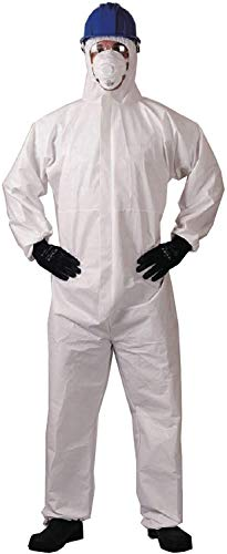 Disposable Coveralls With Hood - KAYGO KG425,Microporous General Purpose Protective Coverall for Men and Women,Elastic cuff, White (1, XL)