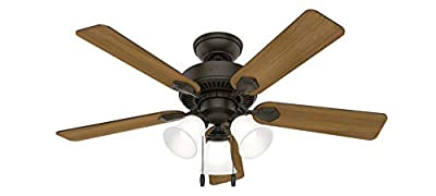 """Hunter Swanson Indoor Ceiling Fan with LED Lights and Pull Chain Control, 44"""", New Bronze"""