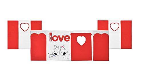 Rideau de Jeu 3 pièces 100% Coton pour lit d'enfant Motif Mon Love Rouge/Blanc XXL