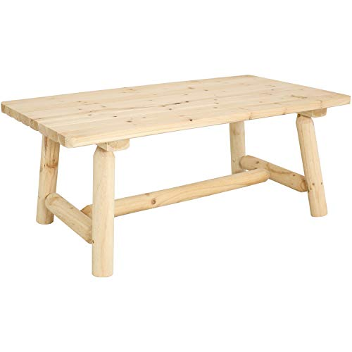 Sunnydaze Rustic Unfinished Wooden Coffee Table - Fir Wood Furniture for Home or Cabin - Log Lodge Style Rectangle Table for Sunroom, Living Room, Covered Porch - 41-Inch