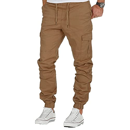 BIBOKAOKE Cargohose Herren Lang Arbeitshose Einfarbige Freizeithose Outdoor Fitness Sporthose Loose Fit Jogginghose Lässige Chino Hose Camping Wanderhose Tactical Hose Trousers Multi-Pocket
