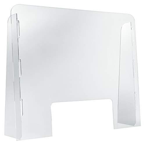 DESERMO Schutzscheibe Thekenaufsatz mit praktischer Durchreiche | Schutzscheibe Plexiglas für mehr Hygiene | Thekenaufsatz Acryl zum Zusammenstecken