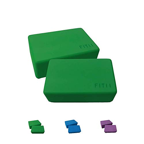 Juego de 2 bloques de yoga de FITII – 2 bloques de yoga de espuma EVA – Bloque de yoga estable y antideslizante para meditación, pilates, yoga, fitness, 2 bloques de yoga (verde)